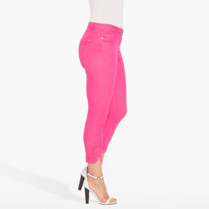 Pantalon 7/8e avec découpes rose fushia femme