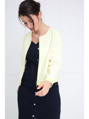 Veste jacquard rayee jaune pastel femme