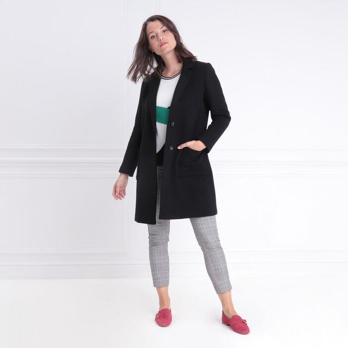 Manteau long droit boutonné noir femme