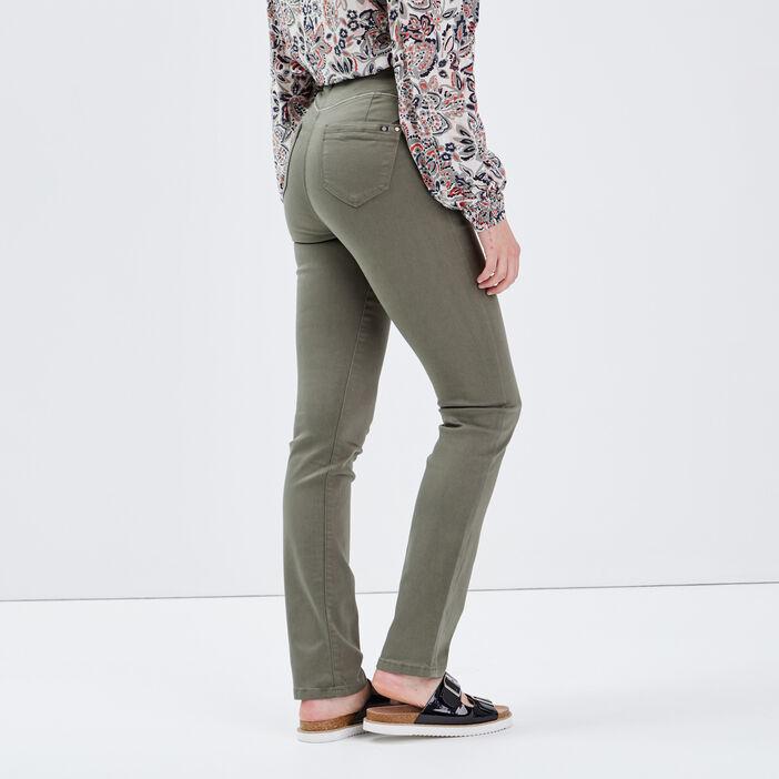 Pantalon ajusté taille haute vert kaki femme