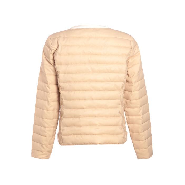 Doudoune droite zippée beige femme
