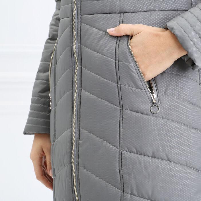 Doudoune évasée col zippé gris femme