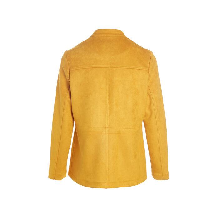 Veste courte en suédine jaune or femme