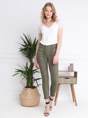 Pantalon imprime serpent vert kaki femme