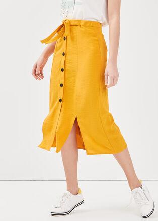 Jupe longue evasee fendue jaune or femme