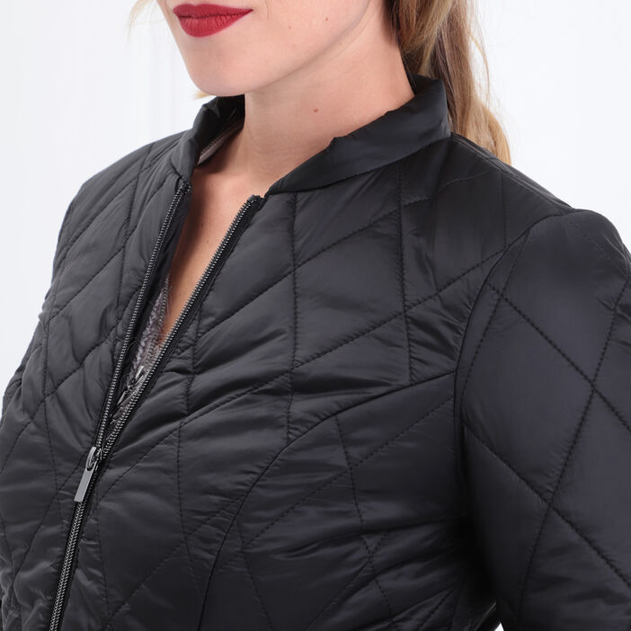 Doudoune cintrée zippée noir femme