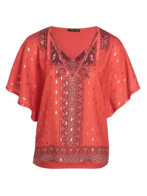 T shirt manches courtes fluide rouge corail femme
