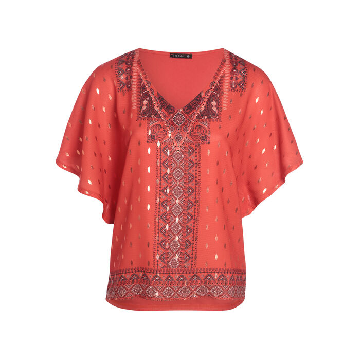 T-shirt manches courtes fluide rouge corail femme