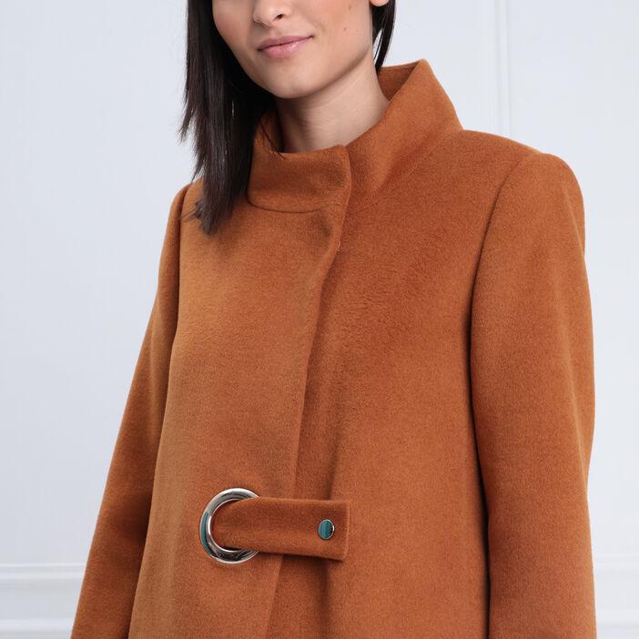 Manteau droit col montant marron femme