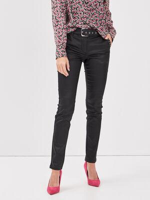 Pantalon enduit ajuste avec clous noir femme