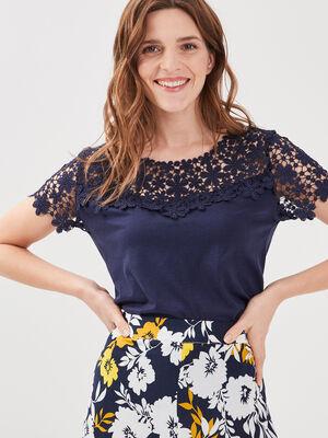 T shirt col rond avec macrame bleu marine femme