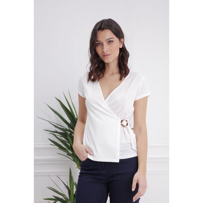 T-shirt cache-coeur avec boucle ecru femme