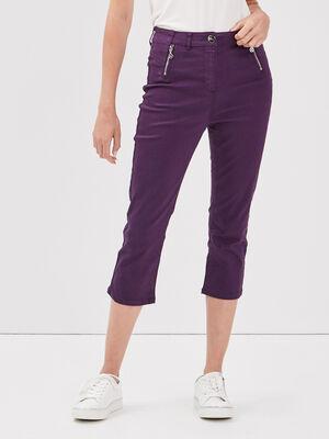 Pantacourt taille haute violet fonce femme