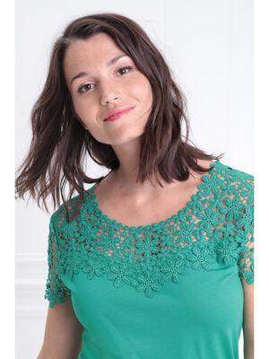 T shirt col rond avec macrame vert menthe femme
