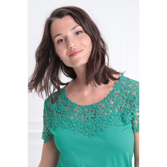 T-shirt col rond avec macramé vert menthe femme