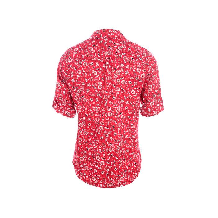 Chemise col classique imprimé bandana rouge femme
