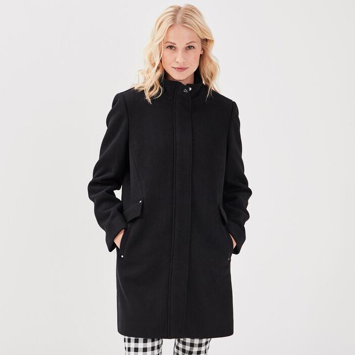 Manteau droit noir femme