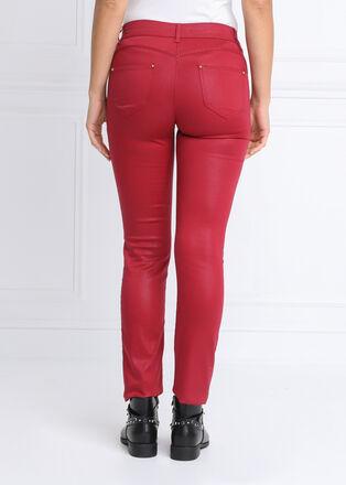 Pantalon ajuste enduit bordeaux femme