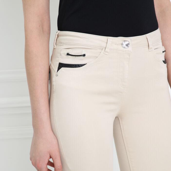 Pantalon ajusté taille basculée sable femme