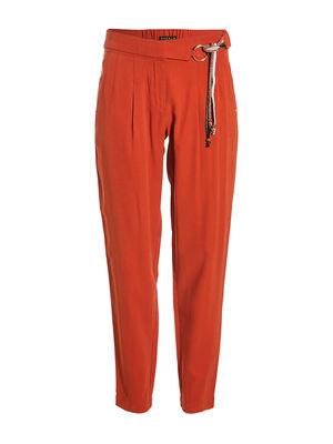 Pantalon fluide detail taille orange fonce femme