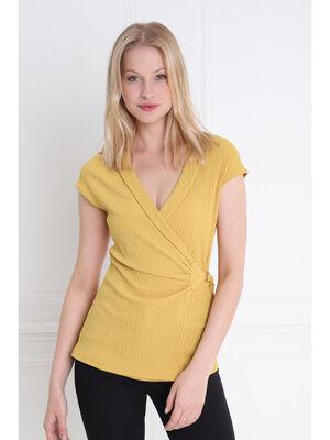 T shirt manche courte cache coeur jaune or femme