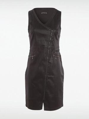 Robe ajustee zippee enduite noir femme