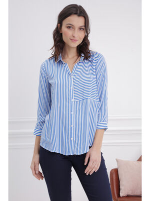 Chemise manches 34 bleu femme