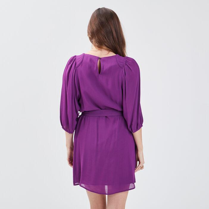 Robe évasée ceinturée violet femme