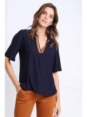 T shirt manches courtes amples bleu marine femme
