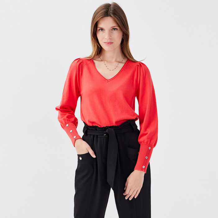 Pull manches longues rose femme