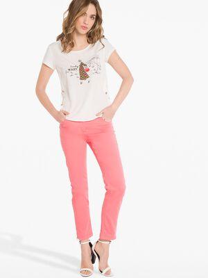 Pantalon satine rose vif femme