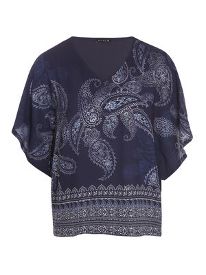 T shirt col V imprime avant bleu femme