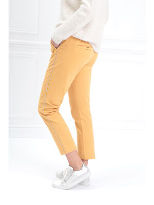 Pantalon chino taille basculee jaune or femme