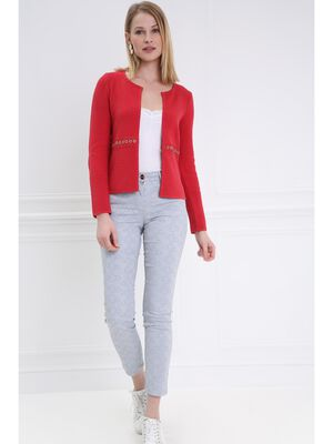 Gilet manches longues col rond rouge femme