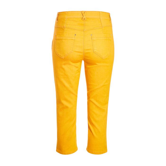 Pantacourt taille haute jaune or femme
