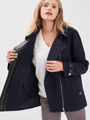 Manteau droit details pattes bleu fonce femme
