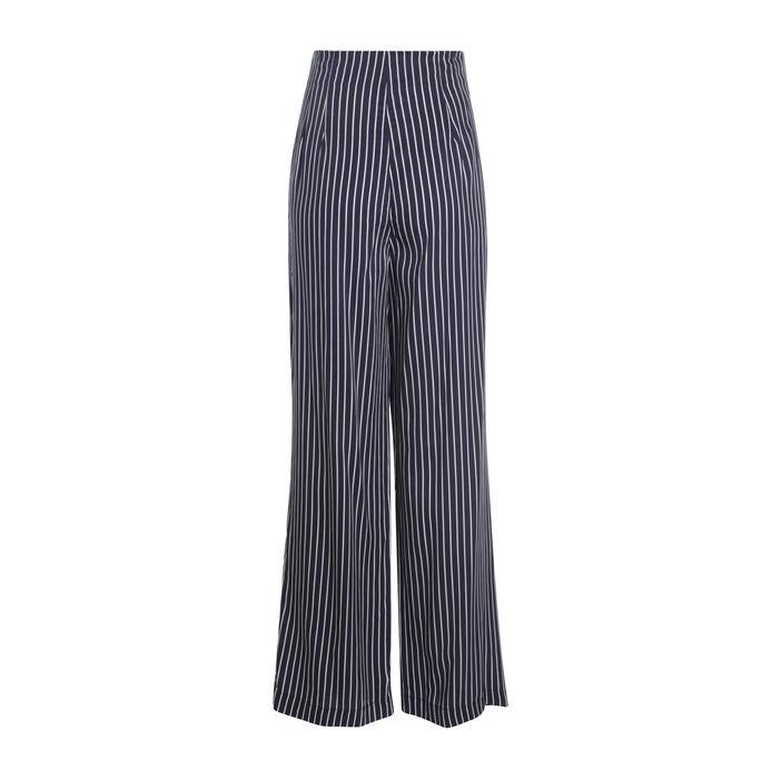 Pantalon fluide taille haute bleu foncé femme