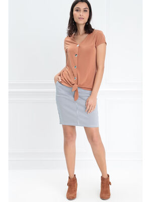 Jupe ajustee poches zippees ecru femme