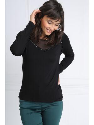 T shirt manches longues noeud noir femme