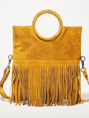 Sac bandouliere en cuir jaune or femme