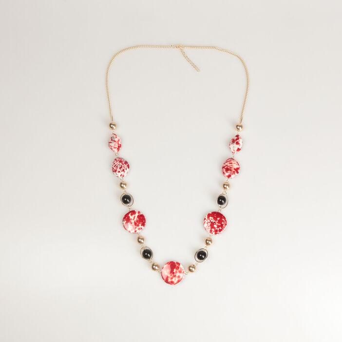Sautoir pierres et perles rouge femme