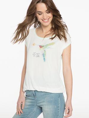 T shirt imprime oiseau ecru femme
