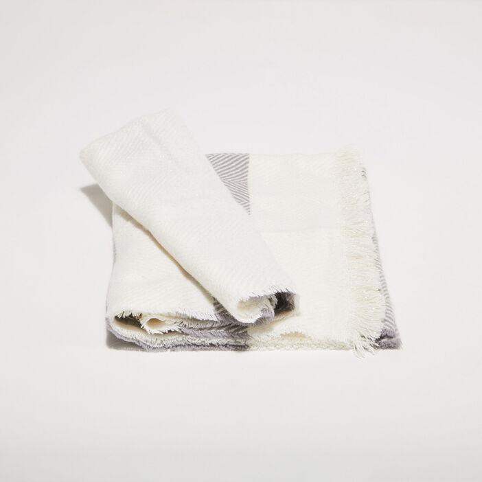 Écharpe à franges gris clair femme
