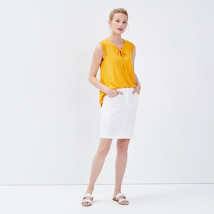 Débardeur bretelles larges jaune or femme