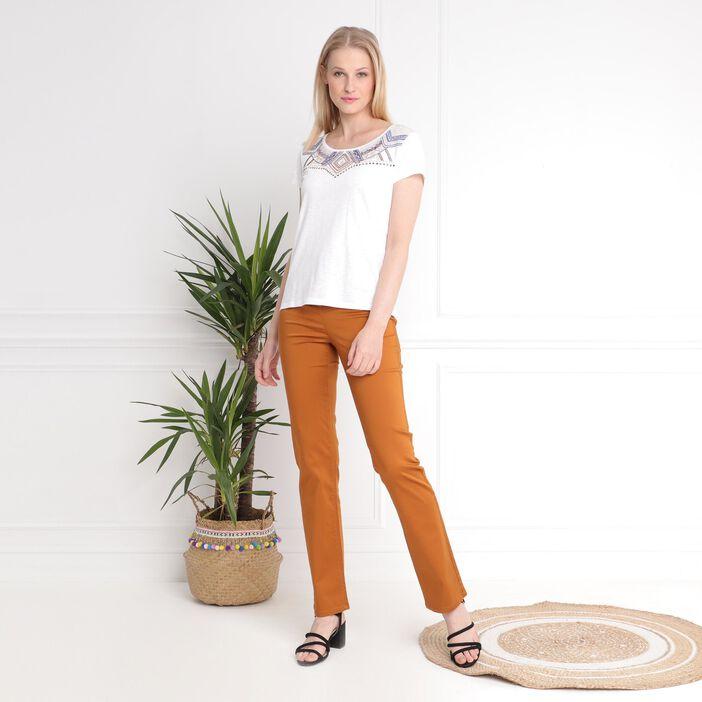 Pantalon droit taille haute marron femme