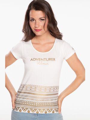 T shirt imprime geometrique dore ecru femme