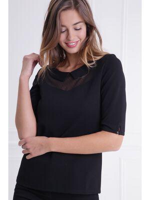 T shirt col claudine details plumetis noir femme