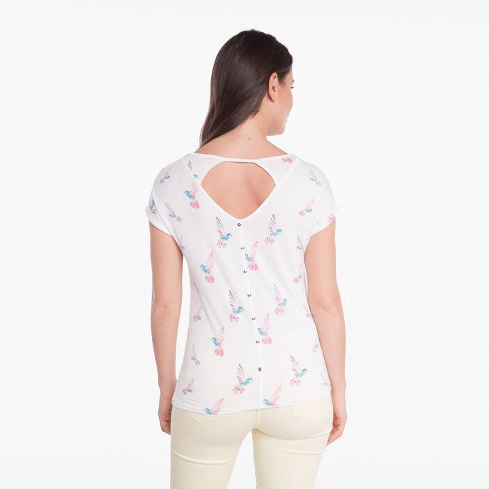 T-shirt motif colibris ecru femme