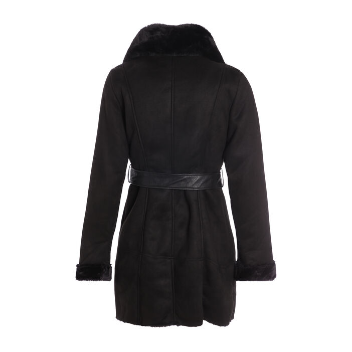 Manteau ajusté col fourrure synthétique noir femme