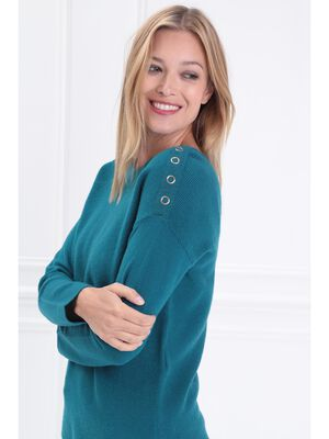 Pull manches longues col rond bleu canard femme